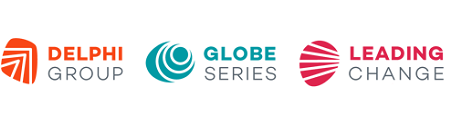 Three logos: Delphi Group, Globe Series, and Leading Change